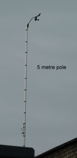 Anemo on 5 metre pole above roof