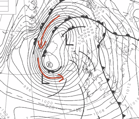 intensifying LOW near Iceland