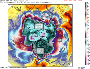 Cold air usually stays nearer home, at the North Pole