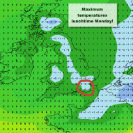max temps monday lunchtime