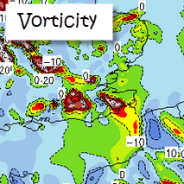 700 hPa vorticity: upward movement of air at 3000m