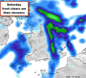 rain clearing Saturday