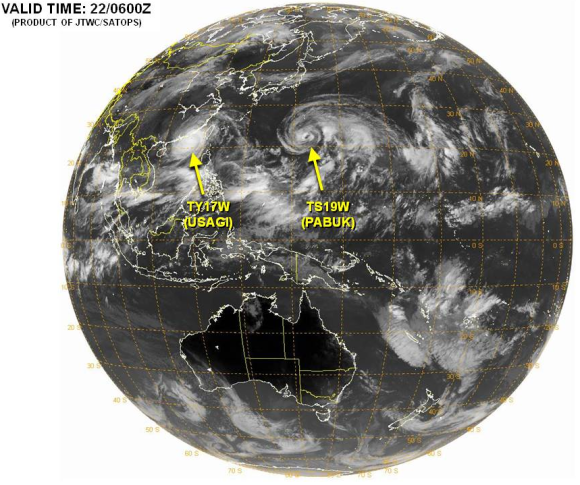 Typhoons in Pacific Sept 2013