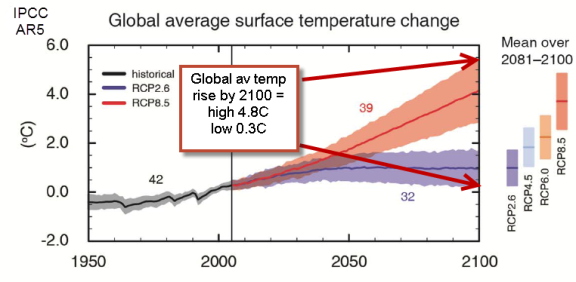 global av temp rise by 2100 4.8c max