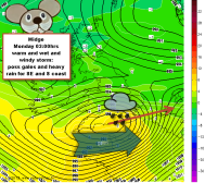 Midge could bring heavy rain and wind to the south