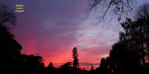 10 Nov red sky over St Marys Reigate churchyard
