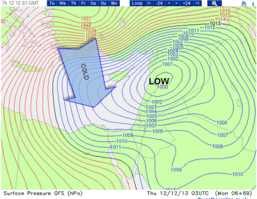 LOW drags in Polar air over warm sea