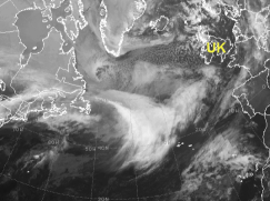 Sat pic of developing storm: hook shape