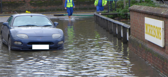Morrisons car park surface water flood