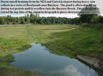 A flood attenuation pond near M23: