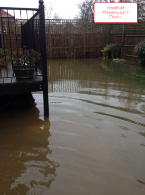 Flooding in Smallfields caused by blocked drain