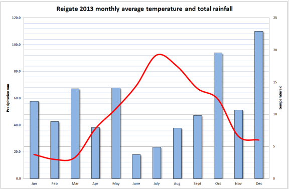 2013 Monthly average temp and total rainfall