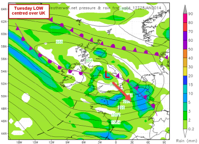 Sunday storm sinking south early next week