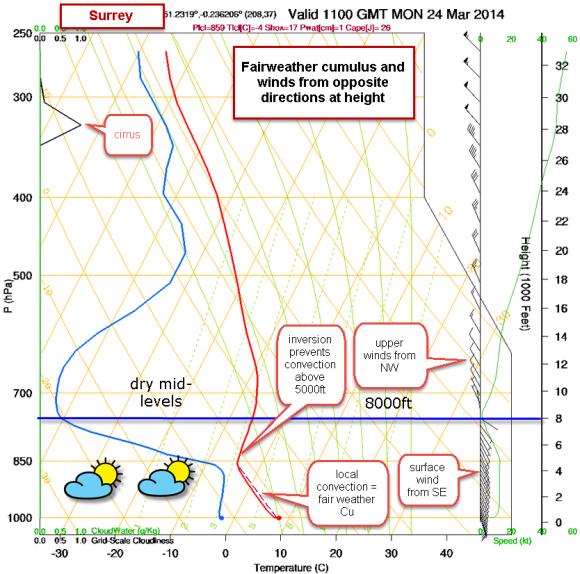 skew-t chart fair weather CU formation