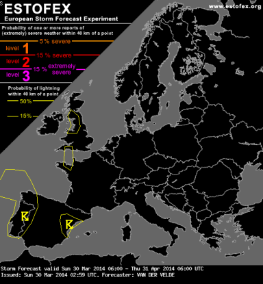 ESTOFEX thunderstorm warning