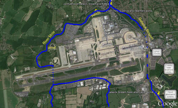 Google Earth image of rivers through LGW