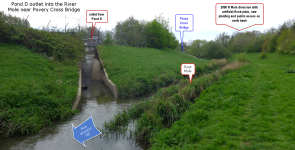 clean airport runoff is discharged into the Mole near Povey Cross bridge