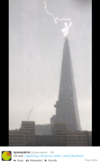 Shard hit by lightning on 22 May