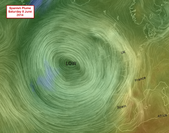 big low showing the plume