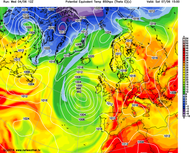warm airmass for the UK