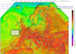 converging moist winds over the UK - saturday