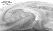 Water vapour Meteosat image 9am 7 June: storms over UK