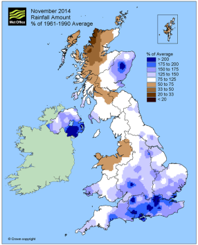 positive rainfall anomalies in the South