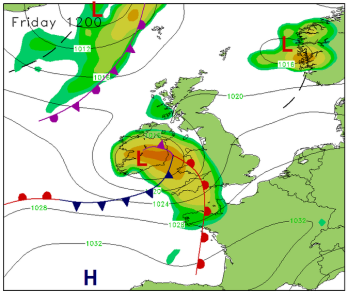 incoming warm air to the south