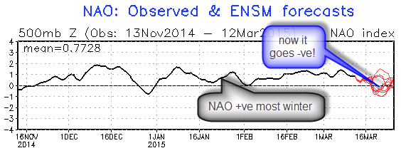 NAO touches negative territory