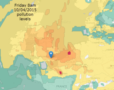 forecast pollution levels Friday am