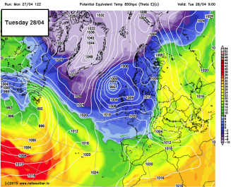 polar airmass sweeps south