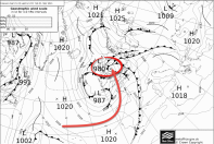 MetOffice chart shows 980mb low