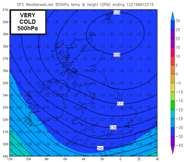 very cold upper air 500hPa