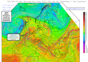 700hPa theta e and streamlines