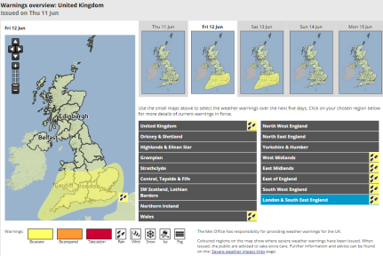MetOffice yellow warning