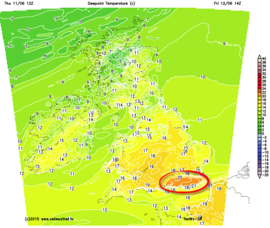 high dew points in SE