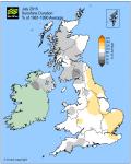 July 2015 sunshine % anomaly
