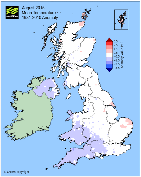 Below average Tmax August temperatures