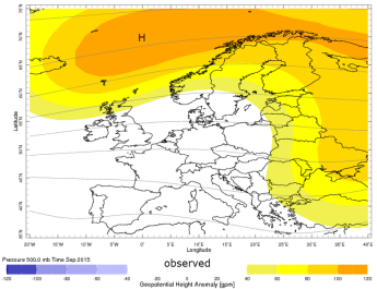 mean 500mb anomaly for September 2015