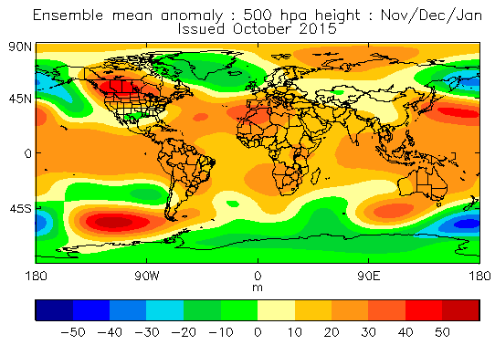 Mean 500mb height anomaly Nov,Dec and Jan