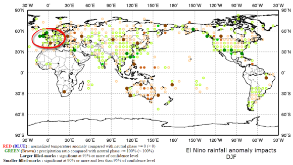 JMA suggests wetter than average Europe in El Nino years