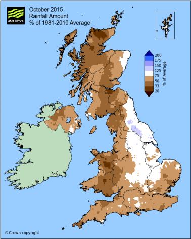 UK October rainfall anomaly