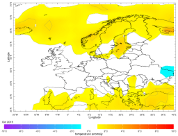 Europe October average temperature