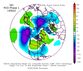 MJO Phase 1 +ENSO in January