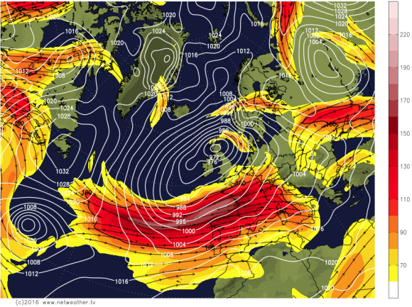 zonal flow with powerful jetstream