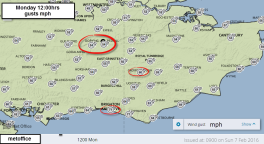 MetOffice gusts SE England