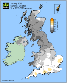 about average sunshine Jan 2016