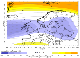 January 2016 mean 500mb