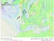 Arctic flow on 500mb streamlines