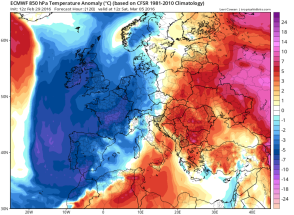 anomalously cold air over NW Europe